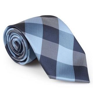 Vance Co. Men's Plaid Microfiber Handmade Tie and Hanky Set