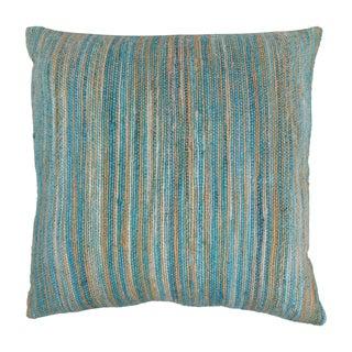 Blazing Needles 20-inch Blue/ Beige Striped Woven Yarn Pillow