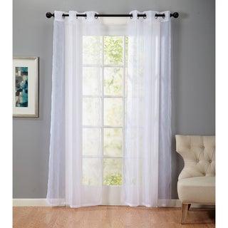 Bevery Embossed 84-Inch Grommet Top Sheer Curtain Panel Pair