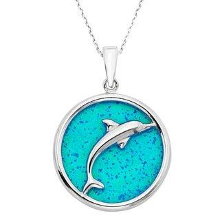 La Preciosa Sterling Silver Created Blue Opal Dolphin in Circle Pendant
