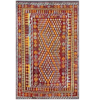 Herat Oriental Afghan Hand-woven Tribal Kilim Burgundy/ Gray Wool Rug (6'4 x 9'9)