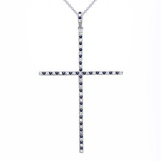 Beverly Hills Charm Sterling Silver 0.80ct TGW Blue and White Sapphire Cross Necklace