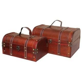 Decorative Wooden Treasure Boxes (Set of 2)