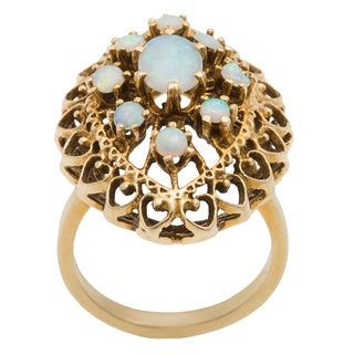 Pre-owned 14K Yellow Gold Antique Opal Filigree Cocktail Ring (Size 6.25)