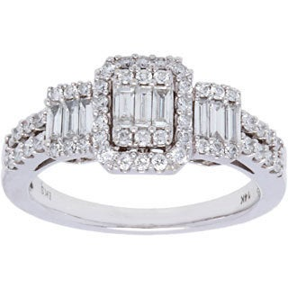 14k White Gold 1ct TDW Diamond Split Shank Estate Ring (H-I, SI1-SI2/ Size 6.75)