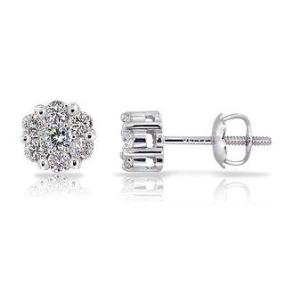 DB Designs 14k White Gold 1/3ct TDW Diamond Cluster Stud Earrings (G-H, I1-I2)