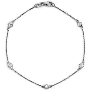 Suzy Levian 14k White Gold 1/10ct TDW Diamonds by the Yard Bracelet (G-H, SI1-SI2)
