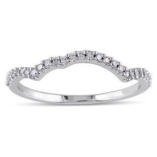 Miadora 14k White Gold 1/8ct TDW Diamond Curved Wedding Band (G-H, I1-I2)