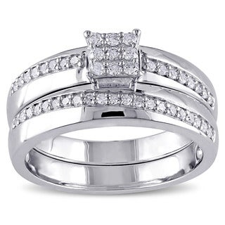 Miadora Sterling Silver 1/3ct TDW Diamond Bridal Ring Set (G-H, I2-I3)