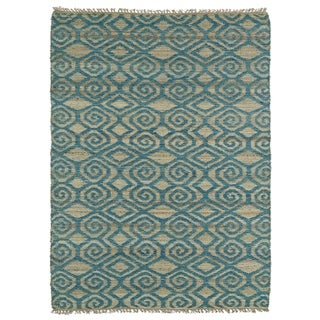 Handmade Natural Fiber Cayon Teal Diamonds Rug (7'6 x 9')