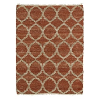 Handmade Natural Fiber Cayon Rust Lattice Rug (7'6 x 9')