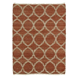 Handmade Natural Fiber Cayon Rust Lattice Rug (8' x 11')