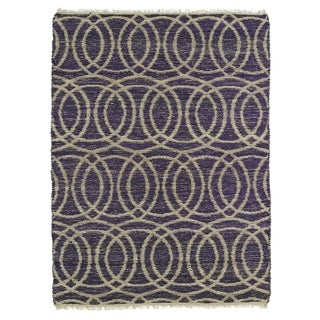 Handmade Natural Fiber Canyon Purple Circles Rug (8' x 11')
