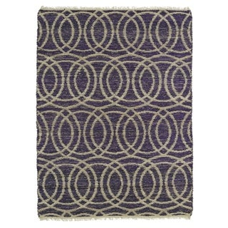 Handmade Natural Fiber Cayon Purple Circles Rug (7'6 x 9')