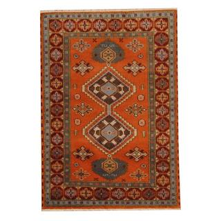 Herat Oriental Indo Hand-knotted Tribal Kazak Peach/ Brown Wool Rug (4' x 6')