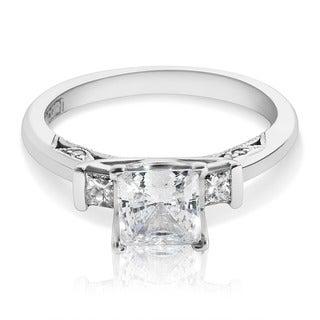 Tacori 18k White Gold Princess-cut Cubic Zirconia 1/5 ct TDW Diamond Engagement Ring (G-H, VS1-VS2)