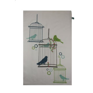 Set of 2 Sweet Bird Retro Embroidered Kitchen Towels (India)