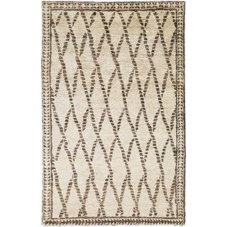 Hand-Knotted Rick Stripe Pattern Hemp Rug (8' x 11')