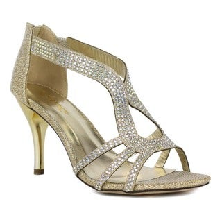 Celeste Women's Keri-02 Gold Rhinestone-studded High Heel