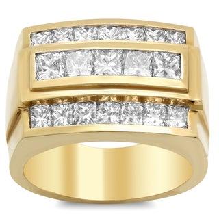 14k Yellow Gold Men's 3 ct TDW Diamond Ring (E-F, VS1-VS2)