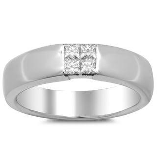 18k White Gold Men's 1/2ct TDW Diamond Ring (F-G, VS1-VS2)