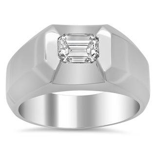 18k White Gold Men's 1 1/10ct TDW Diamond Ring (F-G, VS1-VS2)