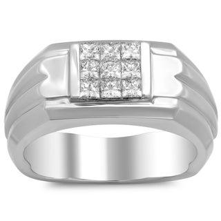 18k White Gold Men's 3/4ct TDW Diamond Ring (F-G, VS1-VS2)