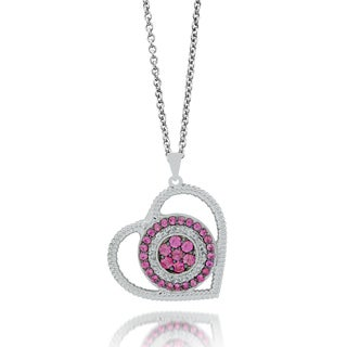 Sterling Silver 3/8ct TDW Diamond Pink Sapphire Heart-shaped Necklace (H-I, I1-I2)