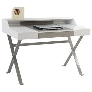 Christopher Knight Home White/ Grey Modern Computer Desk With Drawer