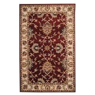 Herat Oriental Indo Hand-tufted Persian Isfahan Design Burgundy/ Gold Wool Rug (5' x 8')