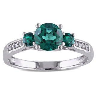 Miadora 10k White Gold Created Emerald Diamond Accent Ring