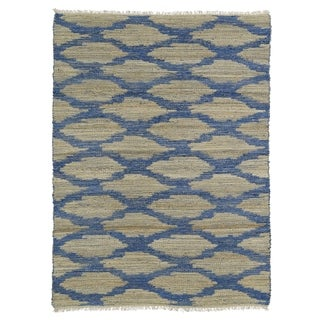 Handmade Natural Fiber Cayon Navy Lattice Rug (7'6 x 9'0)