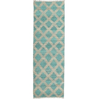 Handmade Natural Fiber Cayon Teal Lattice Rug (2'6 x 8'0)