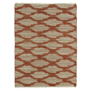 Handmade Natural Fiber Canyon Paprika Lattice Rug (8'0 x 11'0)