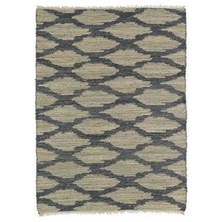 Handmade Natural Fiber Canyon Denim Lattice Rug (8'0 x 11'0)