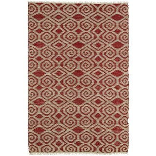 Handmade Natural Fiber Canyon Red Diamonds Rug (8'0 x 11'0)