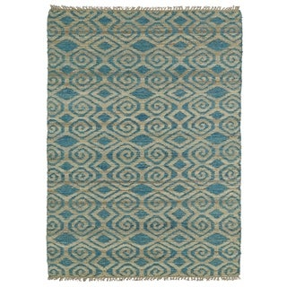 Handmade Natural Fiber Canyon Teal Diamonds Rug (8'0 x 11'0)