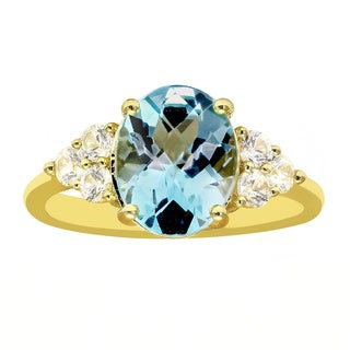 Beverly Hills Charm 10k Yellow Gold Blue Topaz White Sapphire Ring (Size 7)
