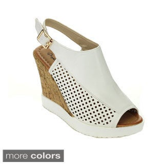 Qupid Women's Happa-04 Slingback High Heel Hollow-Out Wedges