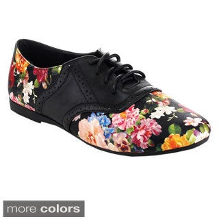 Betani Women's Ashley-4 Hollow-Out Lace Up Floral Oxfords