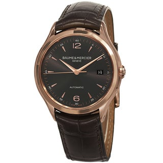 Baume & Mercier Men's MOA10059 'Clifton' Grey Dial Brown Leather Strap Rose Gold Automatic Watch