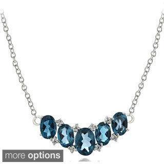 Glitzy Rocks Sterling Silver London Blue White Topaz 5-stone Necklace