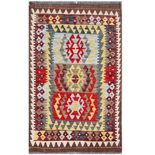 Herat Oriental Afghan Hand-woven Tribal Kilim Beige/ Burgundy Wool Rug (3'2 x 5'1)