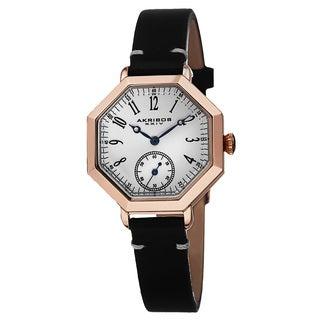 Akribos XXIV Women's Japanese Quartz Octagon Case Genuine Leather Strap Watch