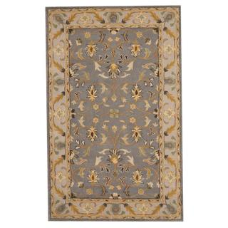 Herat Oriental Indo Hand-tufted Persian Isfahan Design Gray/ Gold Wool Rug (5' x 8')