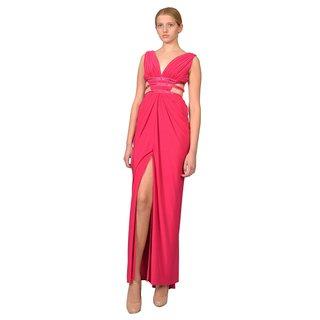 Tadashi Shoji Women's Pink Draped V-neck Formal Evening Dress