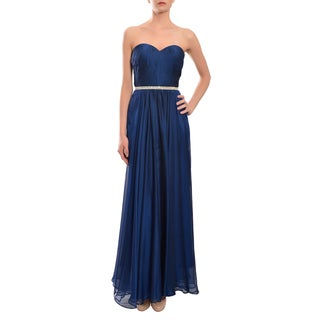 La Femme Navy Strapless Pleated Chiffon Sweetheart Evening Prom Gown