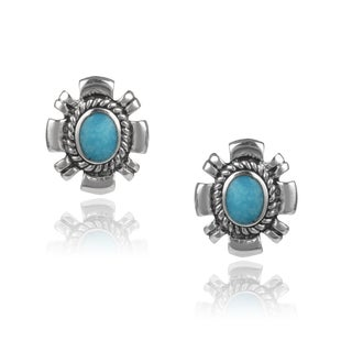 Journee Collection Sterling Silver Handcrafted Turquoise Stud Earrings