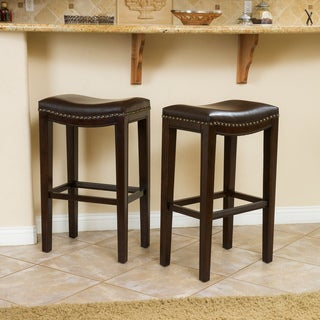 Christopher Knight Home Avondale Brown Bonded Leather Backless Barstool (Set of 2)