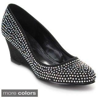 Kiss & Tell 'Nicki-23' Women's Glitter Slip-on Wedges